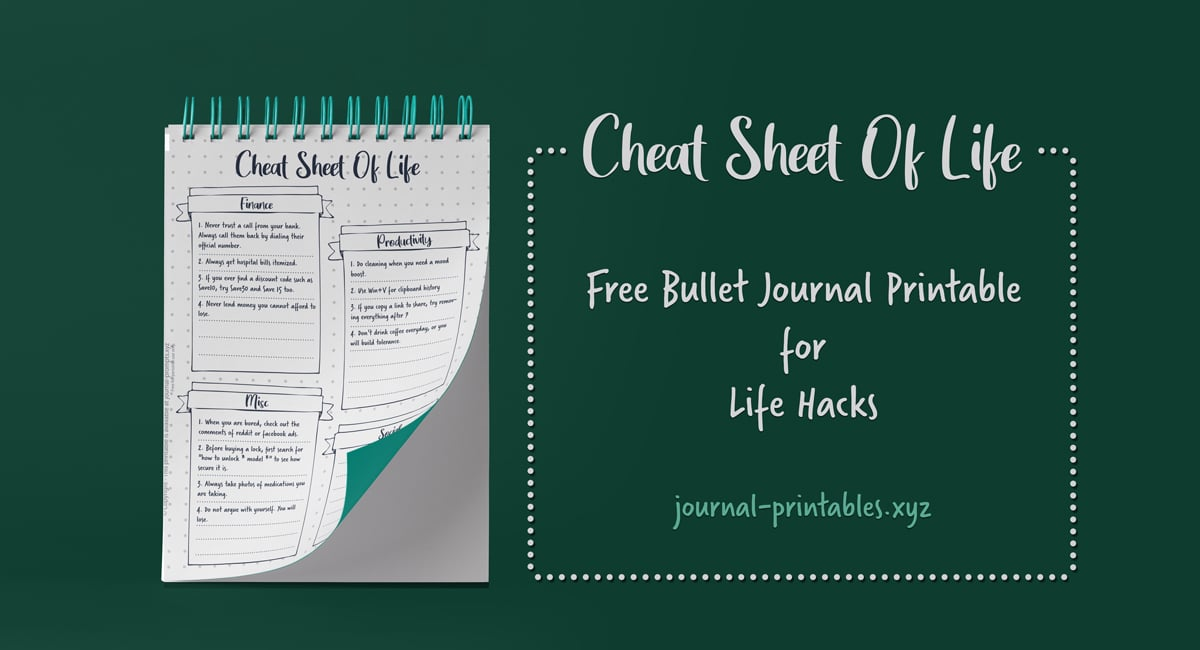 cheat sheet of life hacks, 37 Cheat Sheet of Life Hacks - Key Bullet Journal Spread